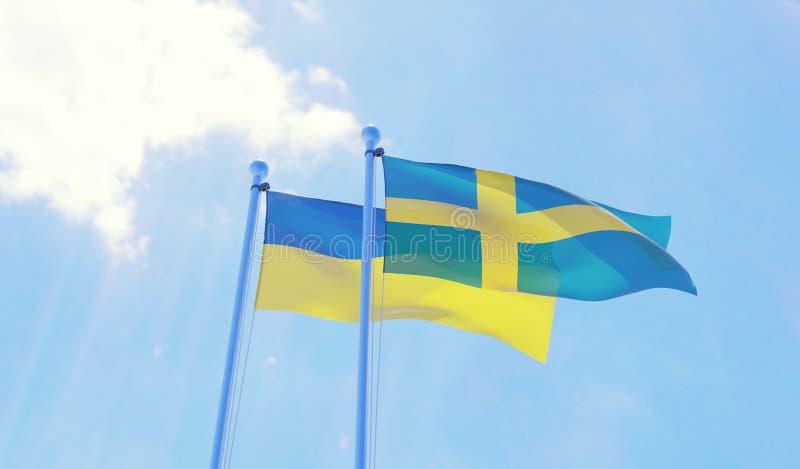 L'Ucraina e la Svezia, bandiere che ondeggiano contro il cielo blu illustrazione vettoriale
