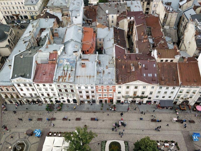 L'Ucraina la città di Leopoli Vista della città immagini stock libere da diritti