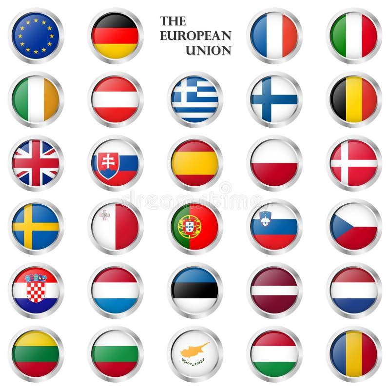 L'UE boutonnent la collection avec des drapeaux de pays illustration de vecteur