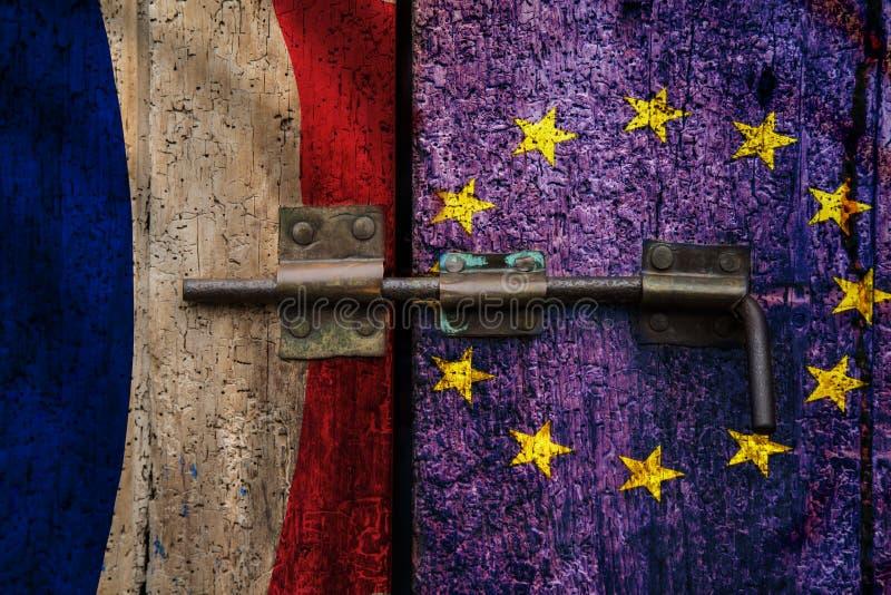 L'UE française de Frexit sortent le drapeau français photo stock