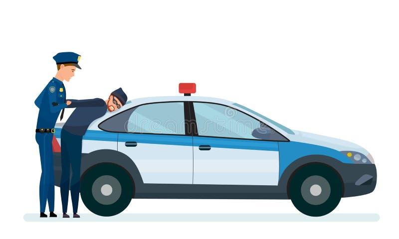 L'ufficiale di polizia arresta il ladro, sul cappuccio di lavoro, volante della polizia illustrazione di stock