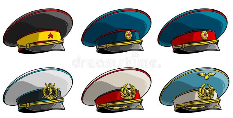 L'ufficiale militare sovietico ha alzato il cappuccio verticalmente con la stella rossa illustrazione di stock