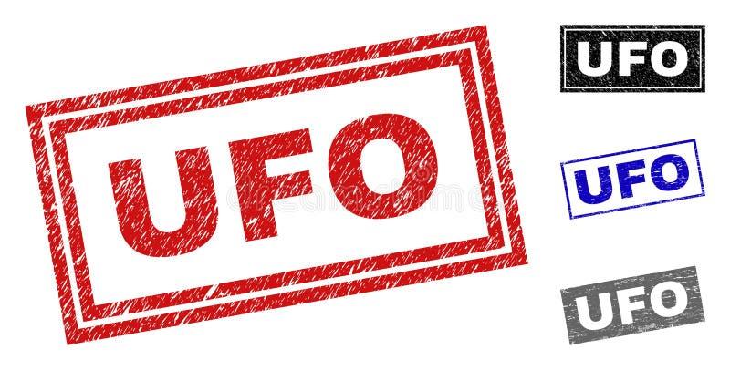 L'UFO grunge a rayé des filigranes de rectangle illustration stock