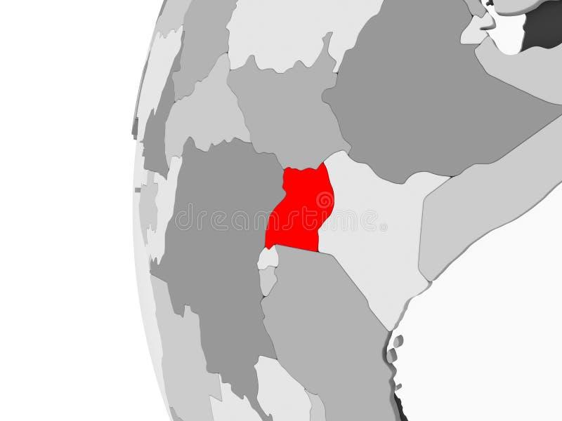 L'Uganda sul globo grigio royalty illustrazione gratis