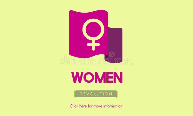 L'uguale della femminista di potere della donna radrizza il concetto illustrazione di stock