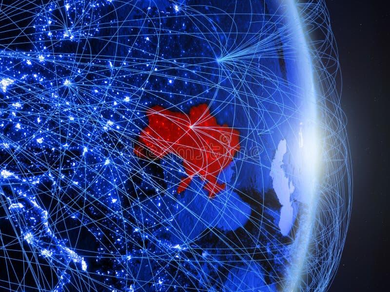 L'Ukraine sur la terre numérique bleue bleue photographie stock