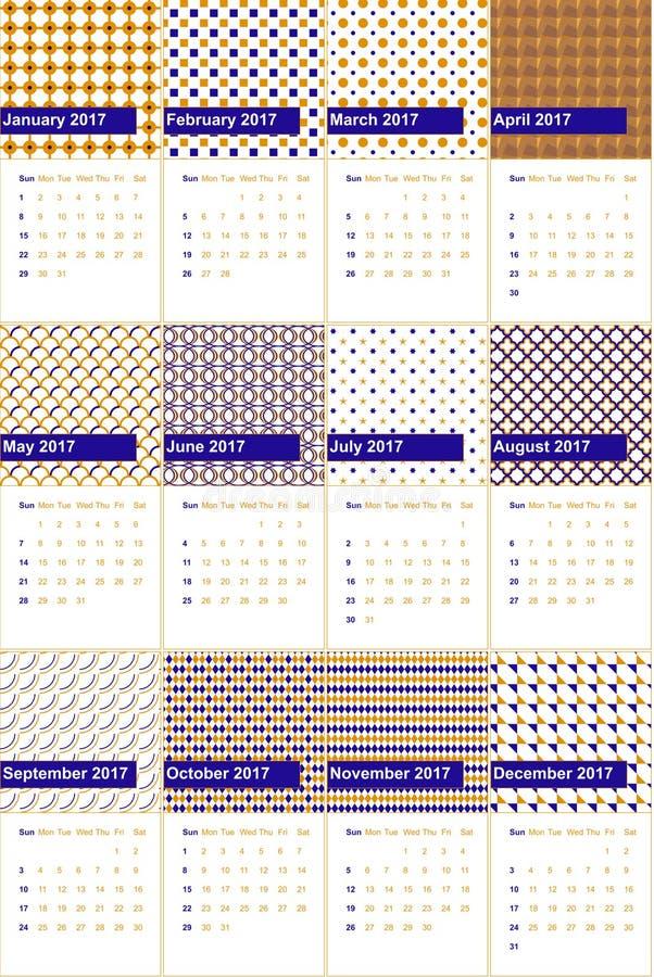 L'ultramarine et la mandarine ont coloré le calendrier géométrique 2016 de modèles illustration de vecteur