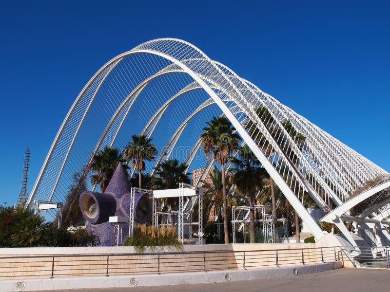 L'Umbracle, Palmsteeg in de Stad van Kunsten en Wetenschappen stock afbeelding