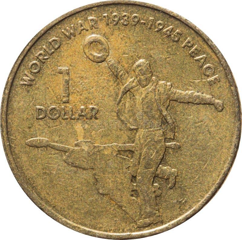 L'una moneta di rame australiana del dollaro che commemora il sessantesimo anniversario della conclusione della guerra mondiale 2 fotografia stock libera da diritti