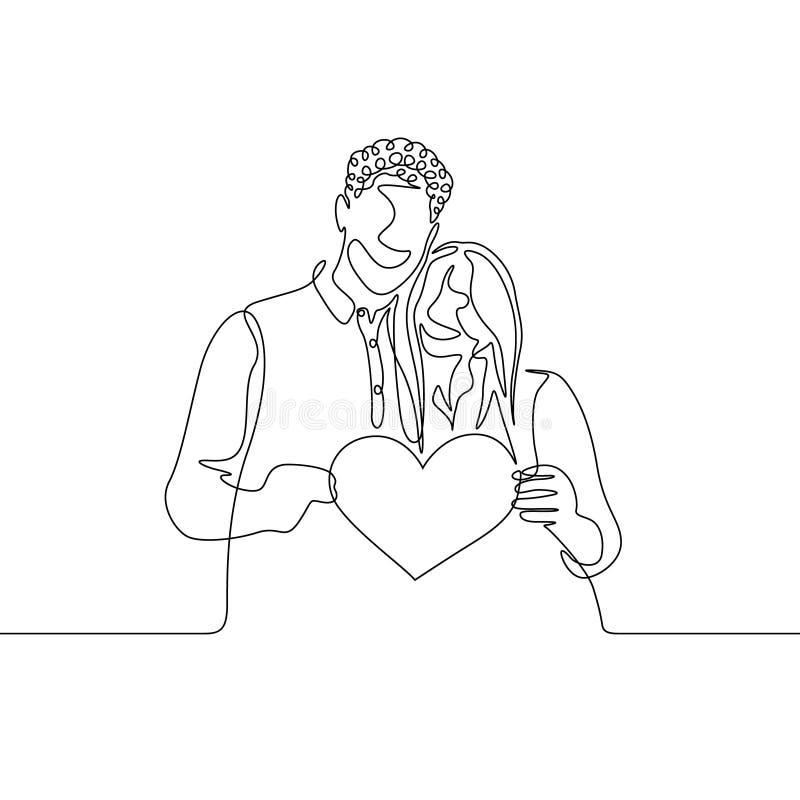 L'une ligne continue couple dans l'amour tiennent la valentine de coeur illustration libre de droits