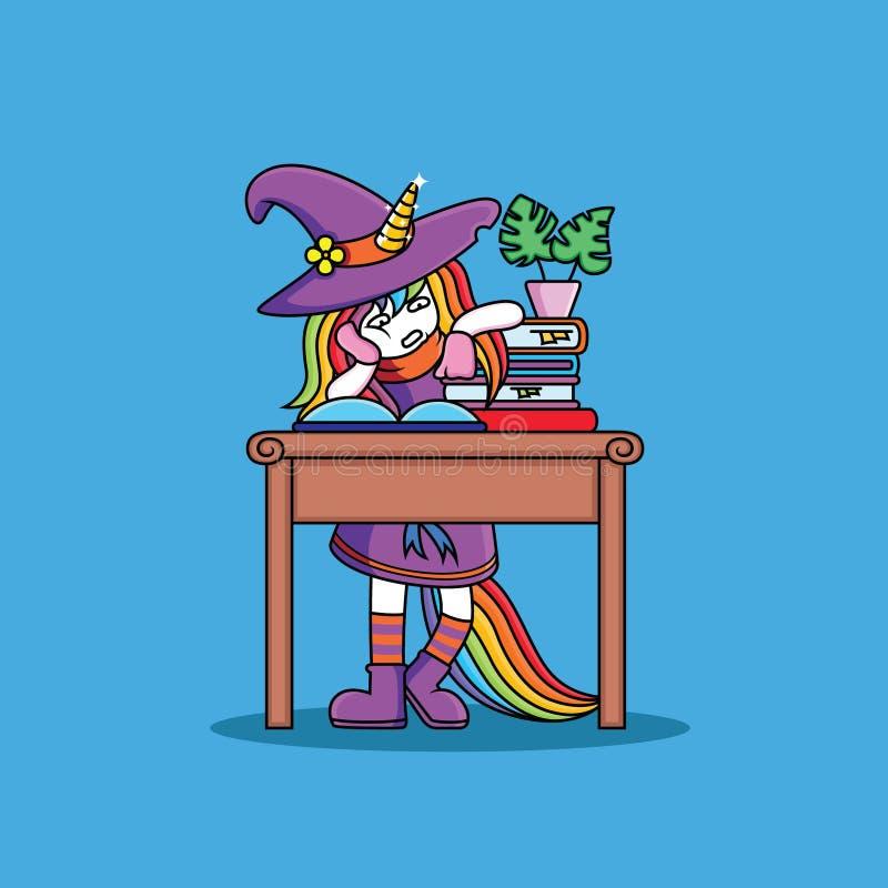 L'unicorno delle streghe sta studiando royalty illustrazione gratis