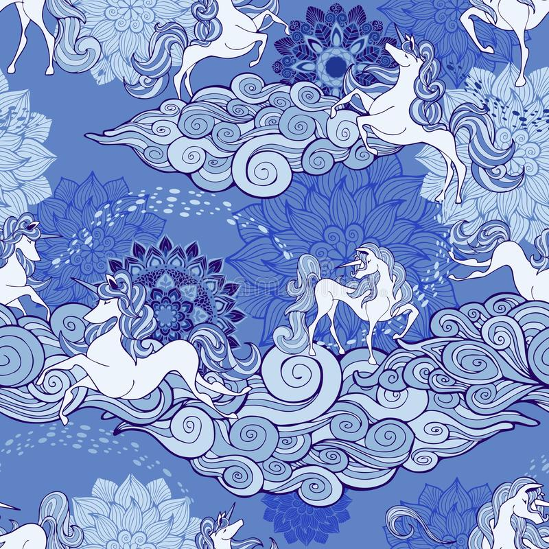 L'unicorno e la nuvola e la mandala progettano per il tono blu e bianco della porcellana di fantasia con fondo blu pastello royalty illustrazione gratis