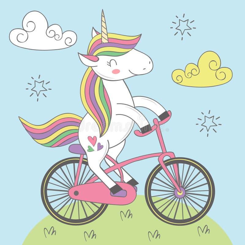 L'unicorno magico guida la bicicletta illustrazione di stock