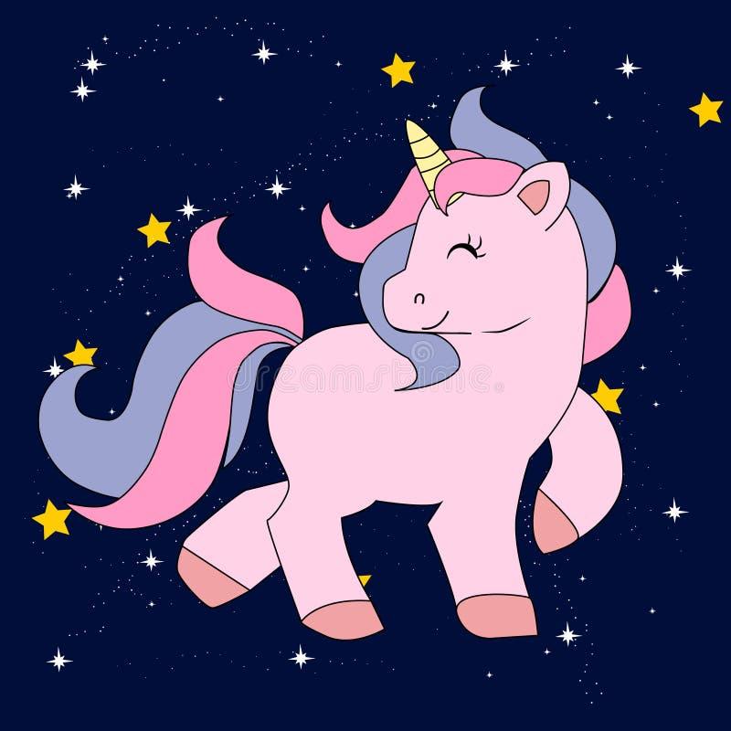 L'unicorno magico sveglio, dolce scherza i grafici per le magliette fotografia stock libera da diritti