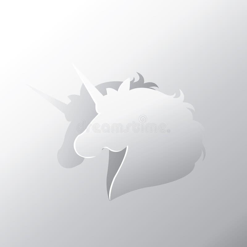 L'unicorno pela dal fondo della carta d'argento illustrazione vettoriale