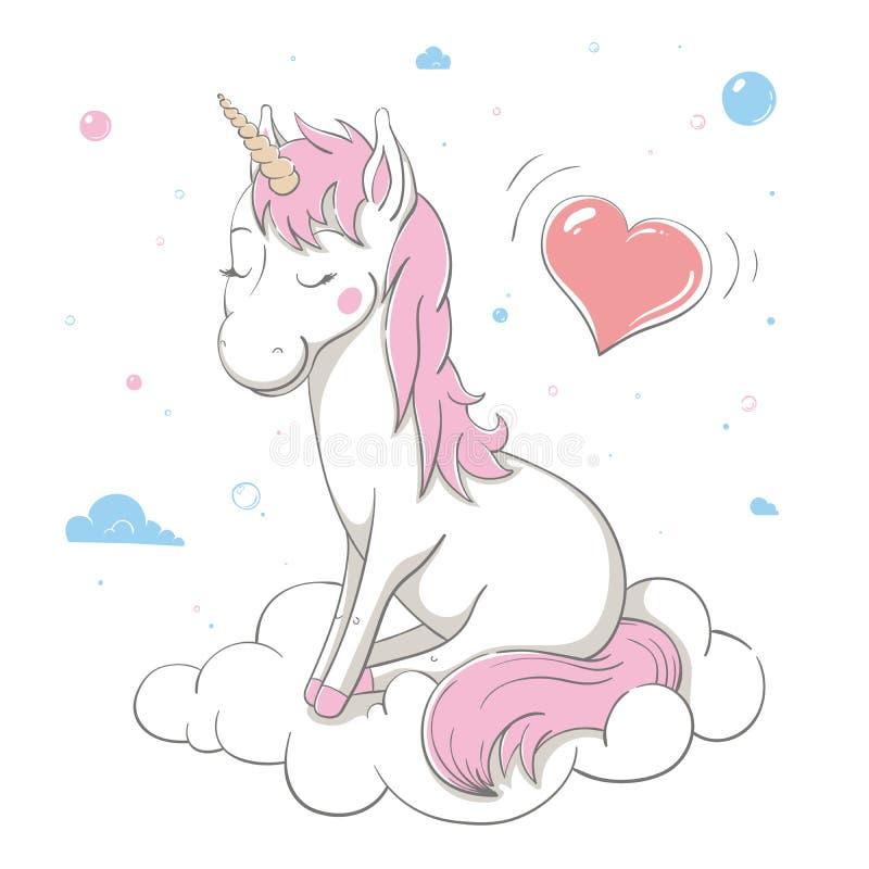 L'unicorno sveglio adorabile si siede sulla nuvola bianca con un grande cuore e le bolle intorno Scheda della sorgente illustrazione vettoriale
