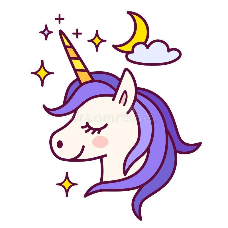 L'unicorno sveglio con le scintille e la luna vector l'illustrazione semplice illustrazione vettoriale