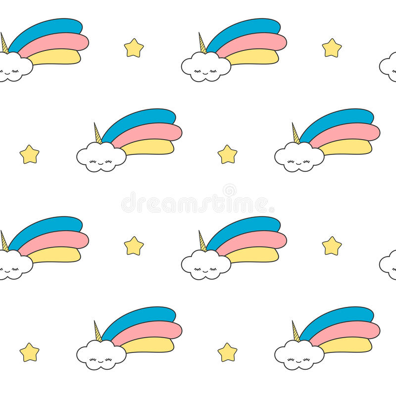 L'unicorno sveglio del fumetto si appanna con l'illustrazione senza cuciture divertente del fondo del modello dell'arcobaleno illustrazione di stock