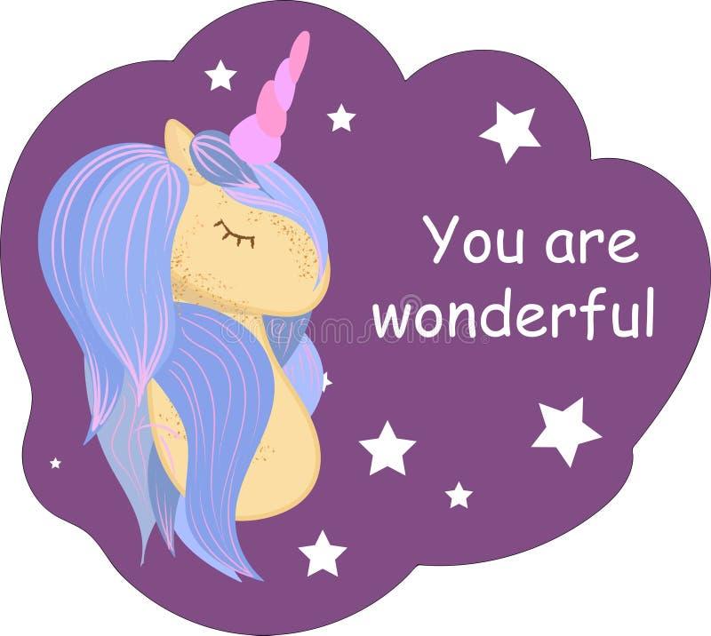 L'unicorno sveglio magico del bambino, il mio piccolo manifesto di citazione di principessa, la cartolina d'auguri, illustrazione illustrazione vettoriale