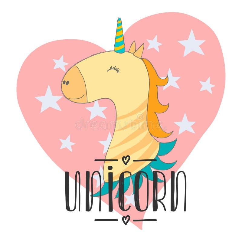 L'unicorno sveglio magico del bambino, le stelle il manifesto, la cartolina d'auguri, illustrazione di vettore con il profilo per illustrazione di stock