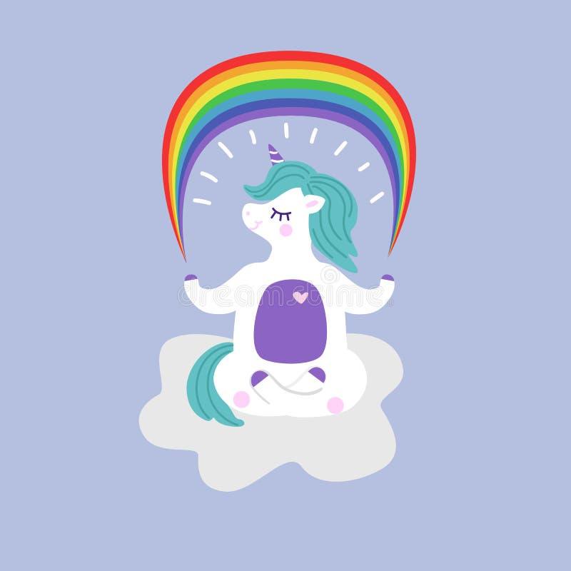 L'unicorno in una posa di yoga tiene un'illustrazione del fumetto di vettore dell'arcobaleno immagini stock libere da diritti