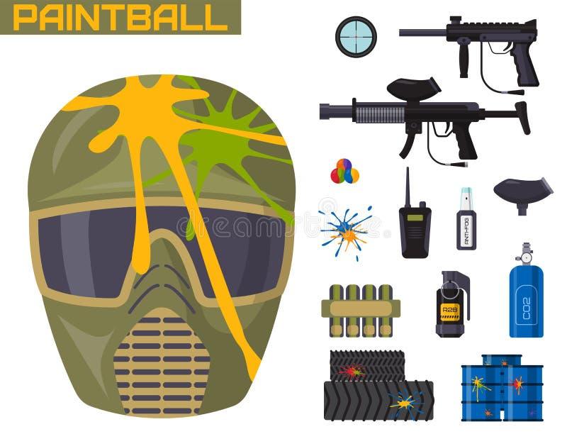 L'uniforme de protection d'icônes de club de Paintball et l'équipement d'éléments de concepteur du jeu de sport visent l'illustra illustration de vecteur