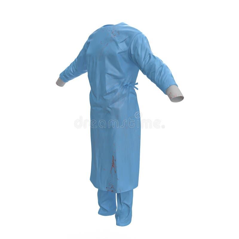 L'uniforme vert de docteur a souillé avec le sang d'isolement sur le blanc Aucune personnes illustration 3D illustration libre de droits