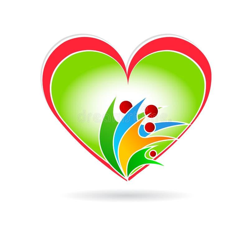 L'union de soin d'amour de famille avec l'élément rouge d'icône de logo de concept de société de coeur se connectent le fond blan illustration stock