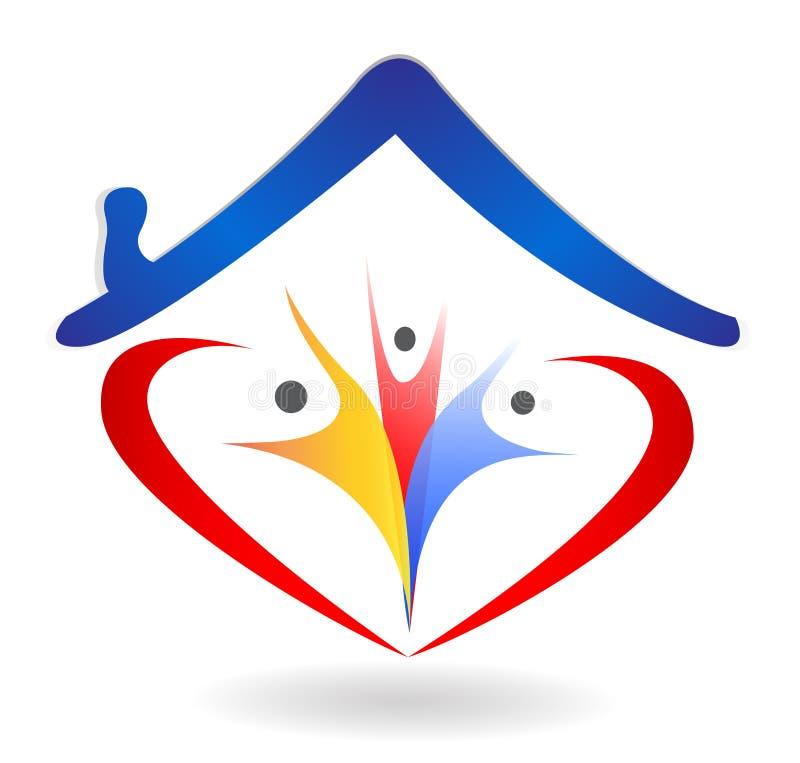 L'union et l'amour de famille au coeur forment le logo de maison illustration stock
