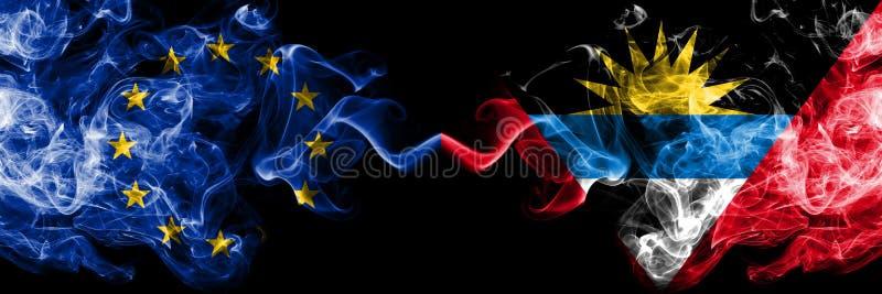 L'Union européenne contre des drapeaux de fumée de l'Antigua-et-Barbuda a placé côte à côte Drapeaux soyeux colorés épais illustration stock