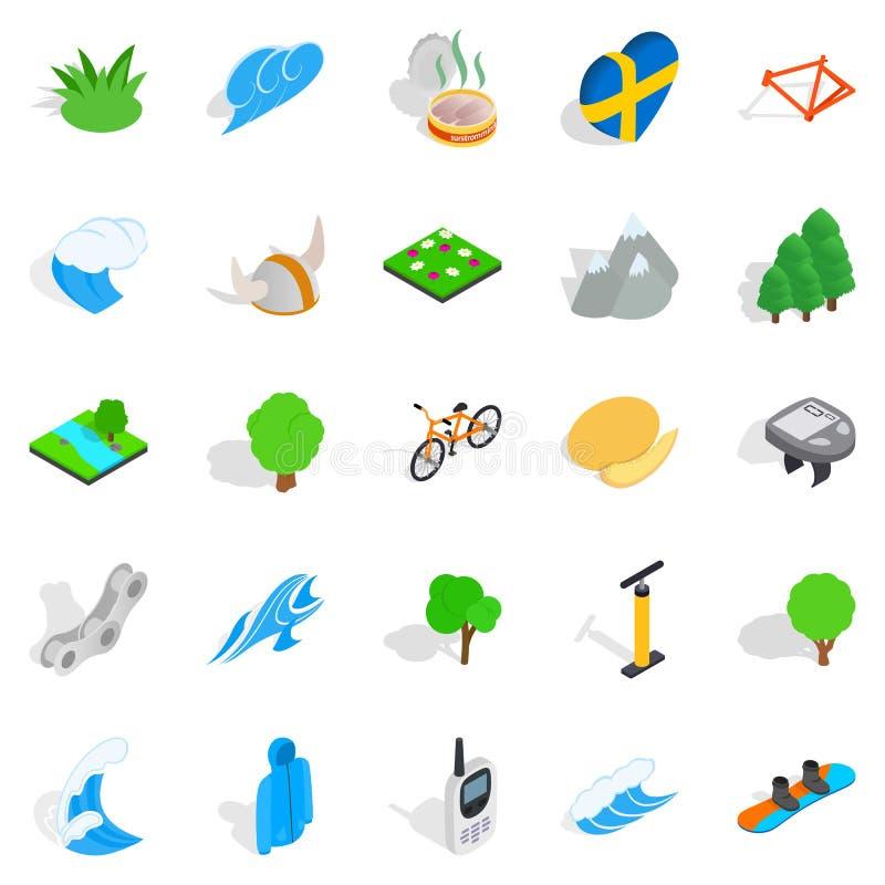 L'unità con le icone della natura ha messo, stile isometrico royalty illustrazione gratis