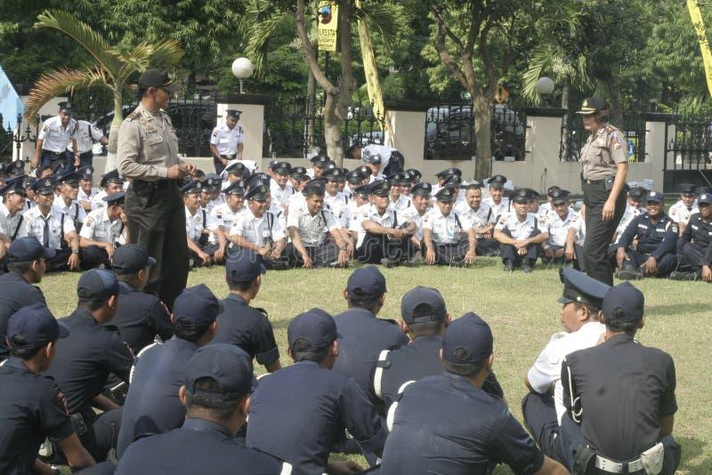 L'unità della sicurezza di esercizio comanda alla questura che costruisce a Surakarta fotografie stock libere da diritti
