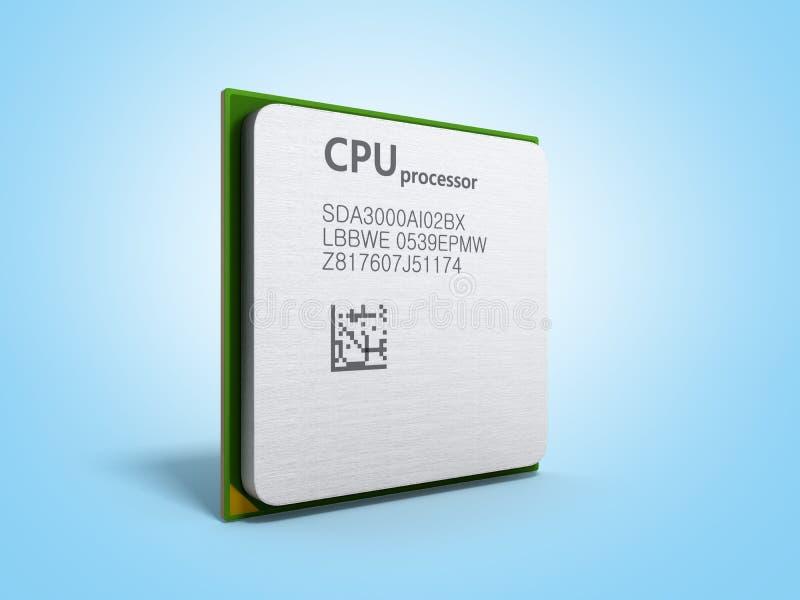 L'unité centrale de traitement 3d de haute résolution de processeurs d'ordinateur central rendent sur bleu illustration stock