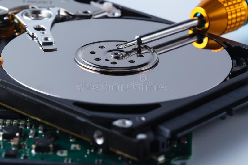 L'unité de disque dur utilisée est ouverte, axe s'ouvre par un tournevis images libres de droits