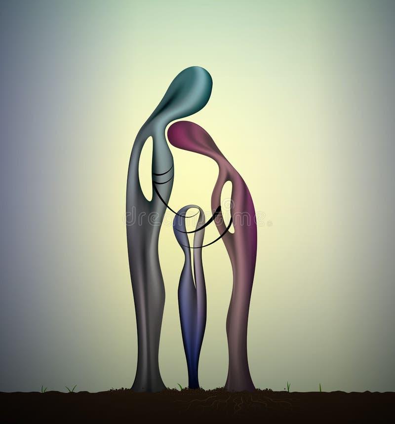 L'unité de la famille trois sculptent, le concept de la famille, idée de l'unité, ensemble pour toujours, illustration stock