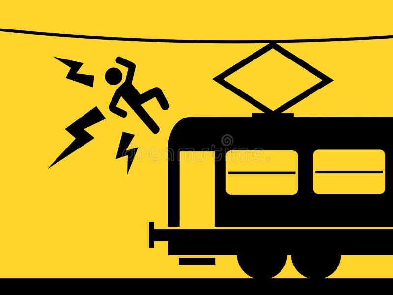 L'uomo ? ucciso toccando la linea sopraelevata sopra il treno illustrazione di stock
