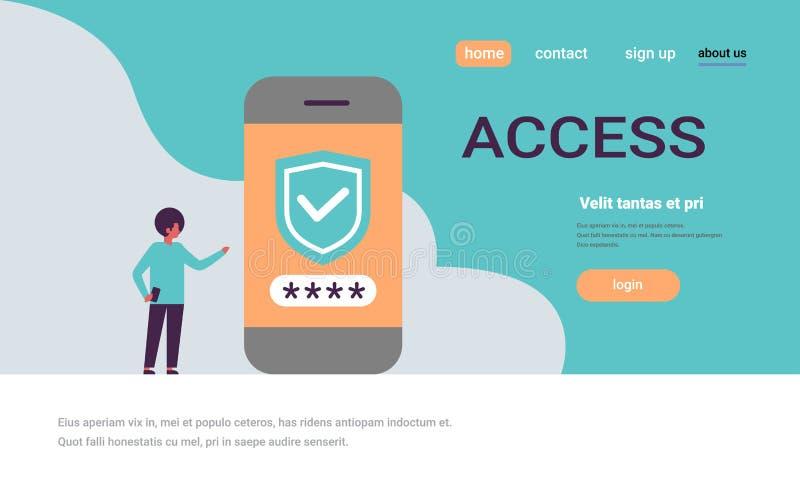 L'uomo africano sblocca lo spazio orizzontale della copia di sicurezza di verifica di parola d'ordine dello smartphone di app di  illustrazione vettoriale