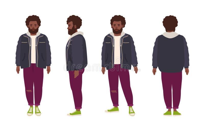 L'uomo afroamericano barbuto spesso si è vestito in jeans e rivestimento Personaggio dei cartoni animati maschio grasso con l'acc royalty illustrazione gratis