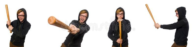 L'uomo aggressivo con la mazza da baseball isolata su bianco fotografie stock libere da diritti