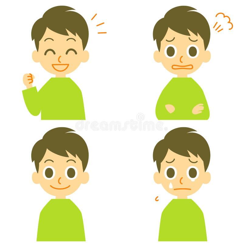 L'uomo, allegro, arrabbiato, piange illustrazione vettoriale
