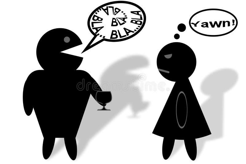 L'uomo annoia la donna ad un partito illustrazione di stock