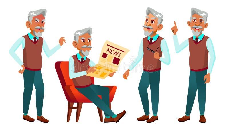 L'uomo anziano arabo e musulmano posa il vettore stabilito Anziani Persona senior invecchiato Nonno amichevole Web, manifesto, li illustrazione vettoriale