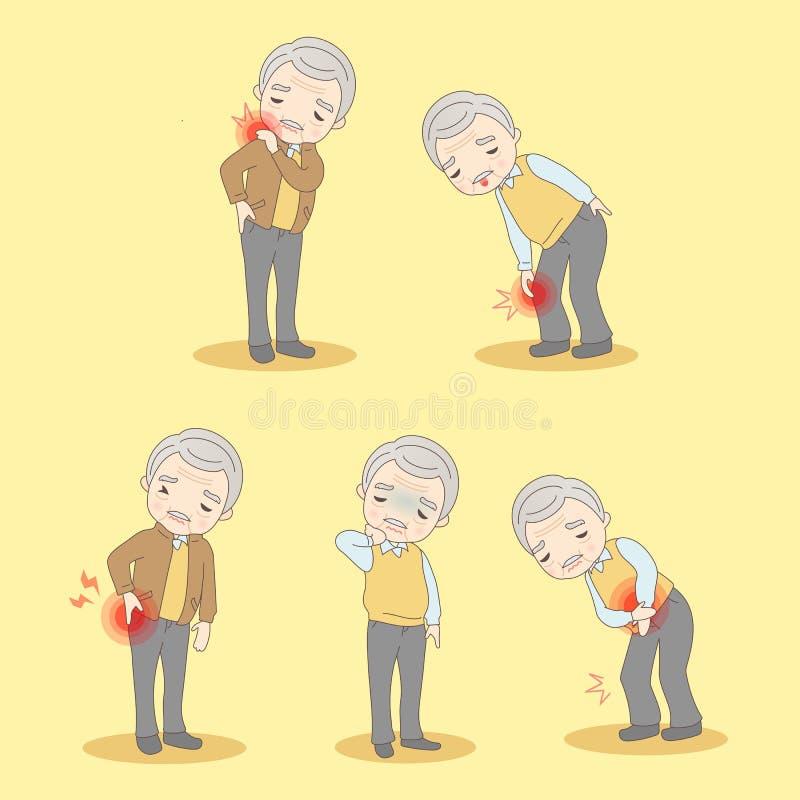 L'uomo anziano ha dolori del corpo illustrazione vettoriale