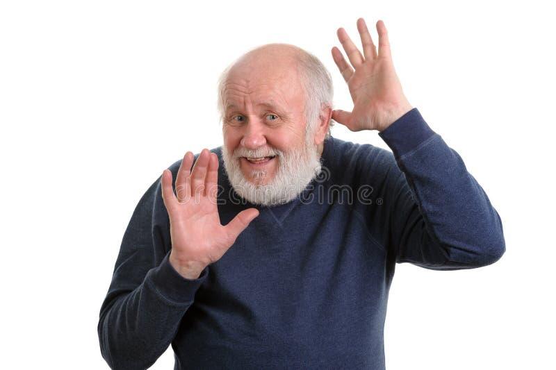 L'uomo anziano mostra le sue palme vuote isolate su bianco immagine stock libera da diritti