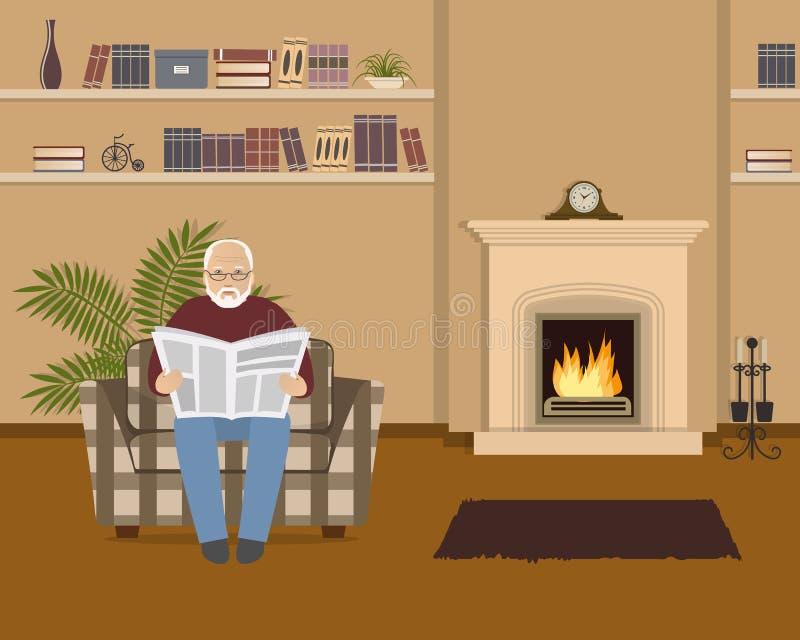 L'uomo anziano sta sedendosi in una poltrona e sta leggendo un giornale illustrazione vettoriale