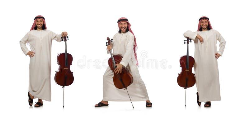 L'uomo arabo che gioca strumento musicale fotografia stock
