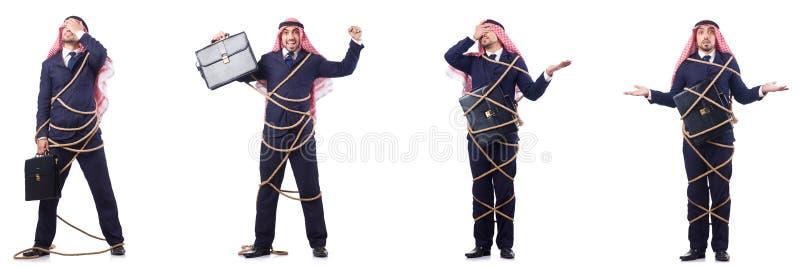 L'uomo arabo legato con la corda fotografia stock
