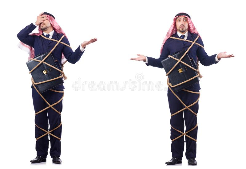 L'uomo arabo legato con la corda fotografie stock libere da diritti
