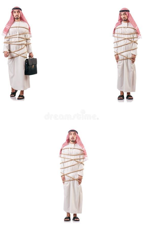 L'uomo arabo legato con la corda fotografie stock