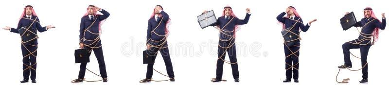 L'uomo arabo legato con la corda fotografia stock libera da diritti